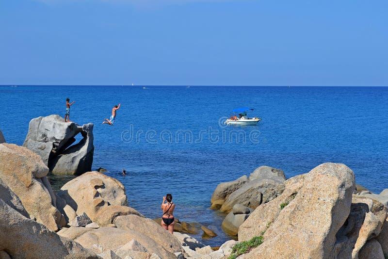 Jump into the sea stock photo