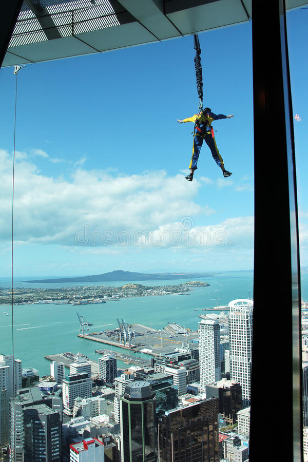 Jump from Sky Tower, Auckland, New Zealand. Leap into a controlled fall from the Sky Tower. Auckland, New Zealand stock photo