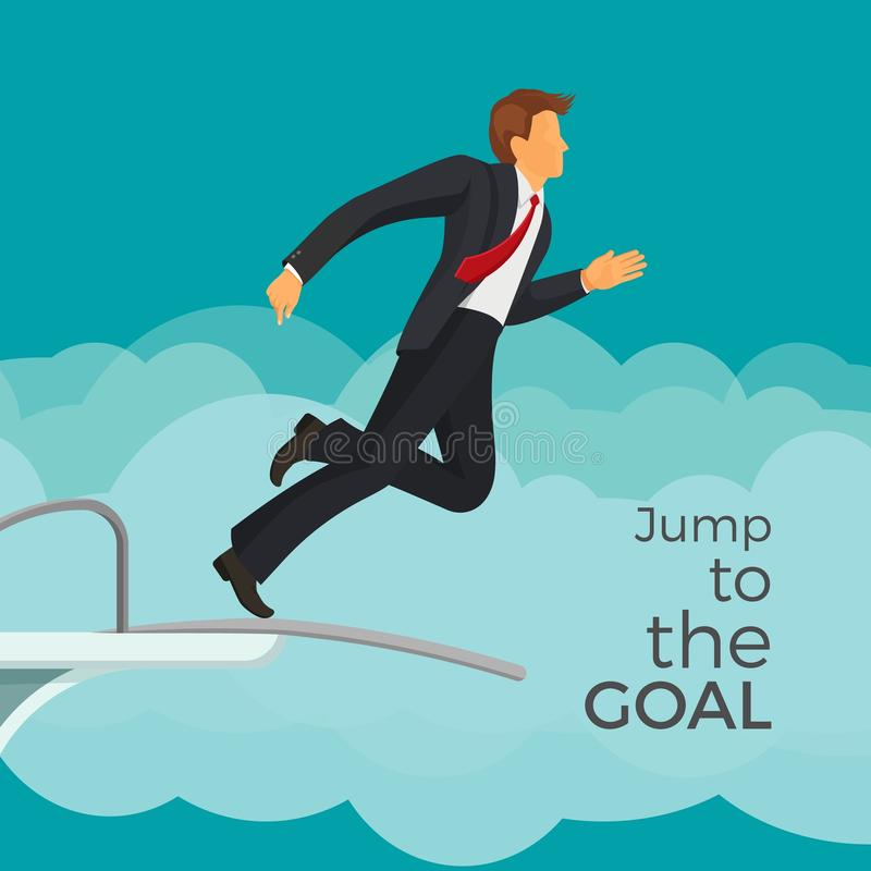 Jump to the goal agitative poster with businessman in suit vector illustration