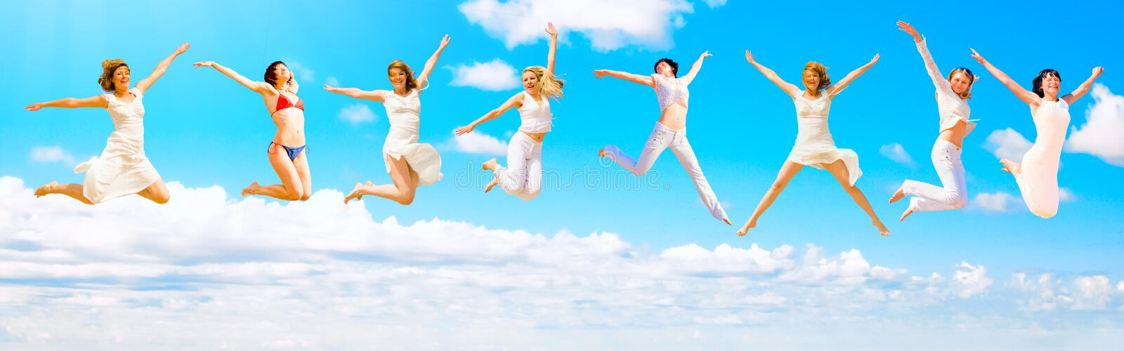 Download We jump to the sky stock image. Image of group, high, couple - 6250619