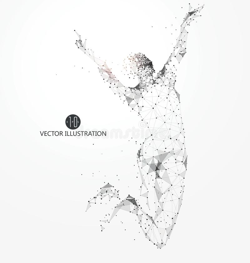 Jump woman, points, lines and connected to form, vector illustration. Jump woman, points, lines and connected to form, vector illustration,Sportsmen, strength royalty free illustration