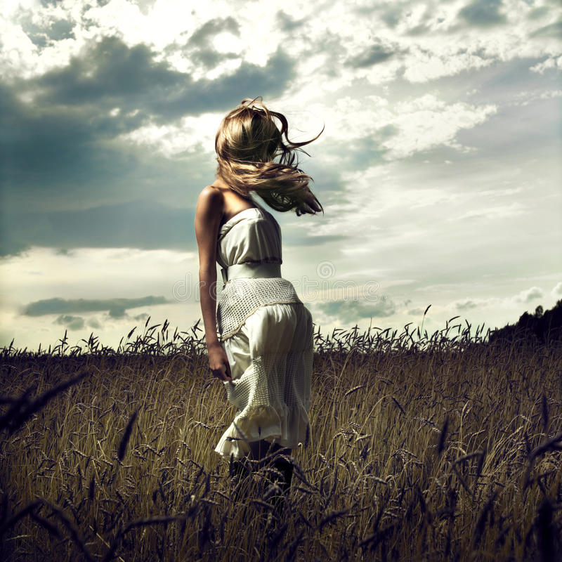 Free Jump Women In Wheat Field Royalty Free Stock Photo - 15800975