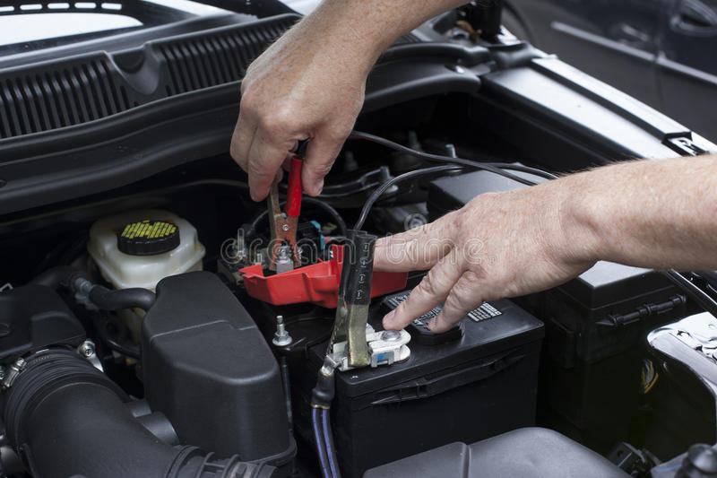 Jumper_Cables_Recharge_Automotive_battery royalty free stock photo