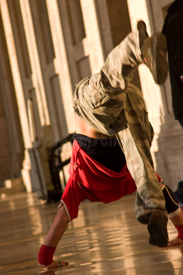 Jumping. Break dance in action on the street stock image