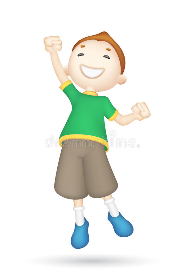 Download Jumping 3d Boy stock vector. Image of people, cheerful - 25596214