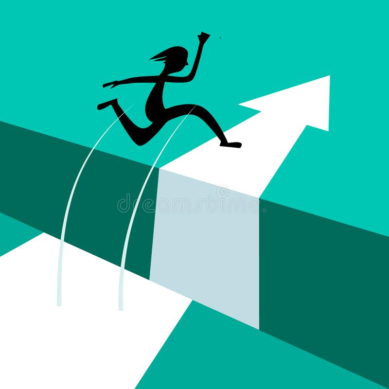 Jumping Above Gap. Jump Over Abyss. Vector Illustration with Arrow. Courage Concept. Silhouette of Successful Jumper vector illustration