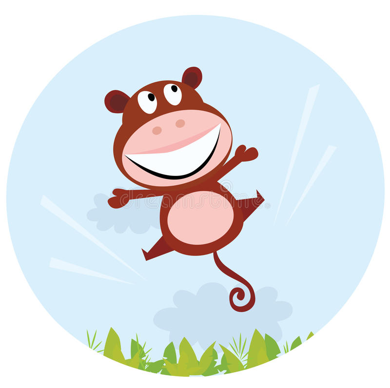 Jumping african cute monkey stock illustration