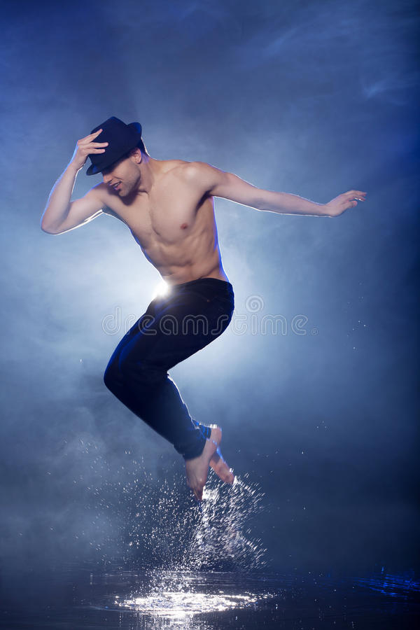 Jumping in aqua studio. stock photo
