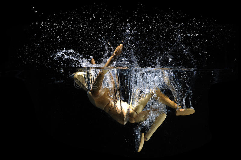 Jumping backwards into water. Simulation with wooden figure of jumping backwards into water with splash and dark background stock photo