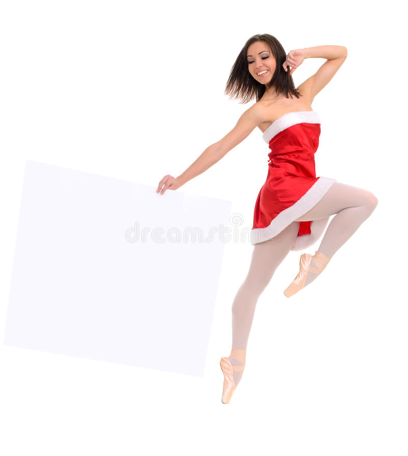 Jumping ballet female dancer with banner. Jumping ballet female dancer in red dress with banner royalty free stock images