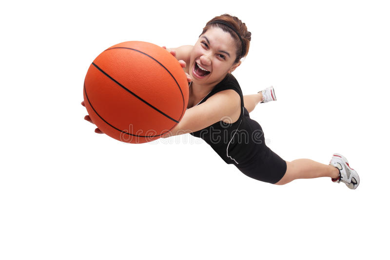 Jumping basketball player stock photography