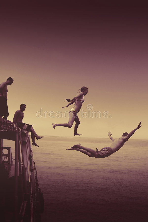 Jumping of boat stock images