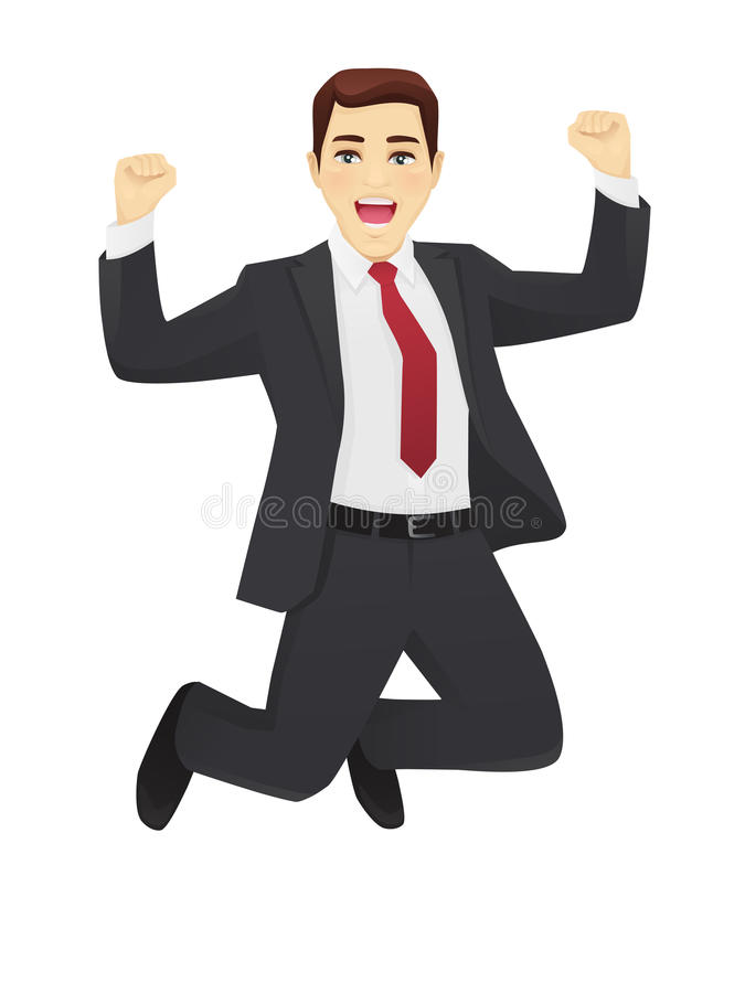 Jumping business man stock illustration
