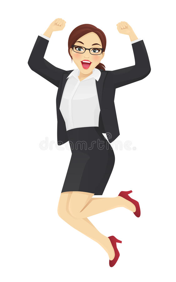 Jumping business woman royalty free illustration