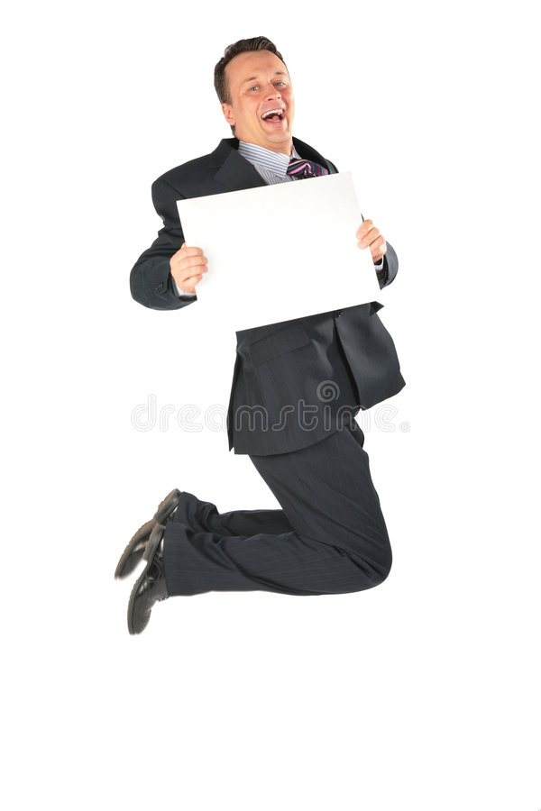 Jumping businessman with blank paper stock photo