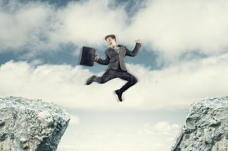 The jumping businessman royalty free stock images