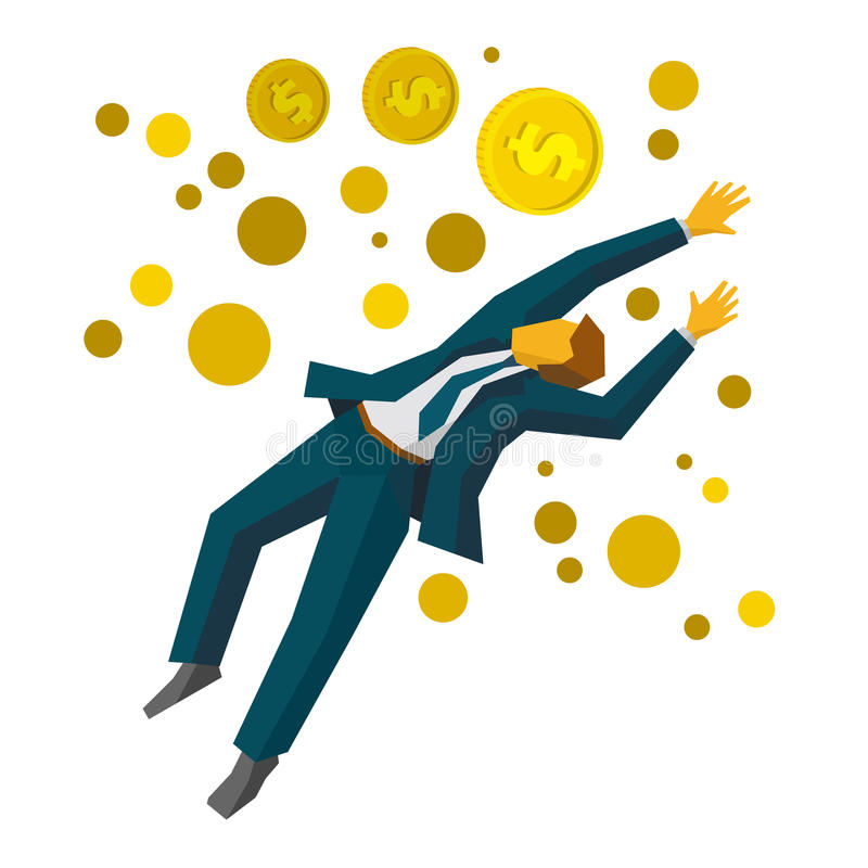 Jumping businessman catch a gold coins. Business concept - profit growth. royalty free illustration