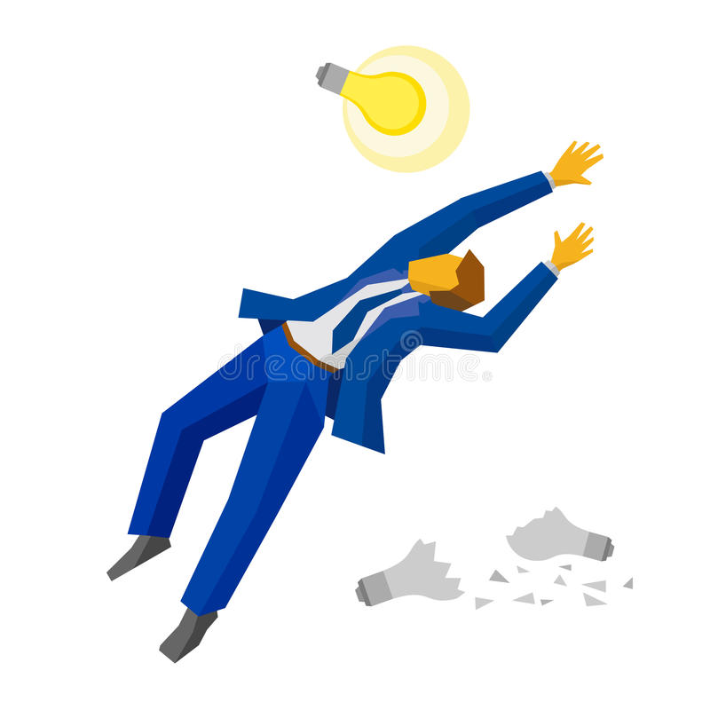 Jumping businessman catch a lamp. Business idea concept. Jumping businessman catch a lamp. Some broken lamps at the ground. Business metaphors - new idea royalty free illustration