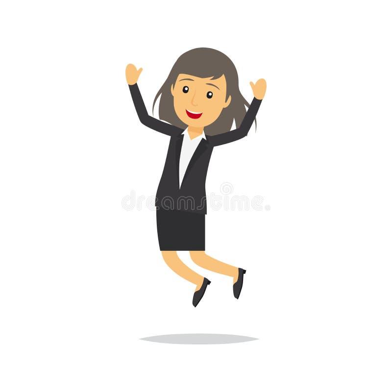 Jumping businesswoman character stock illustration