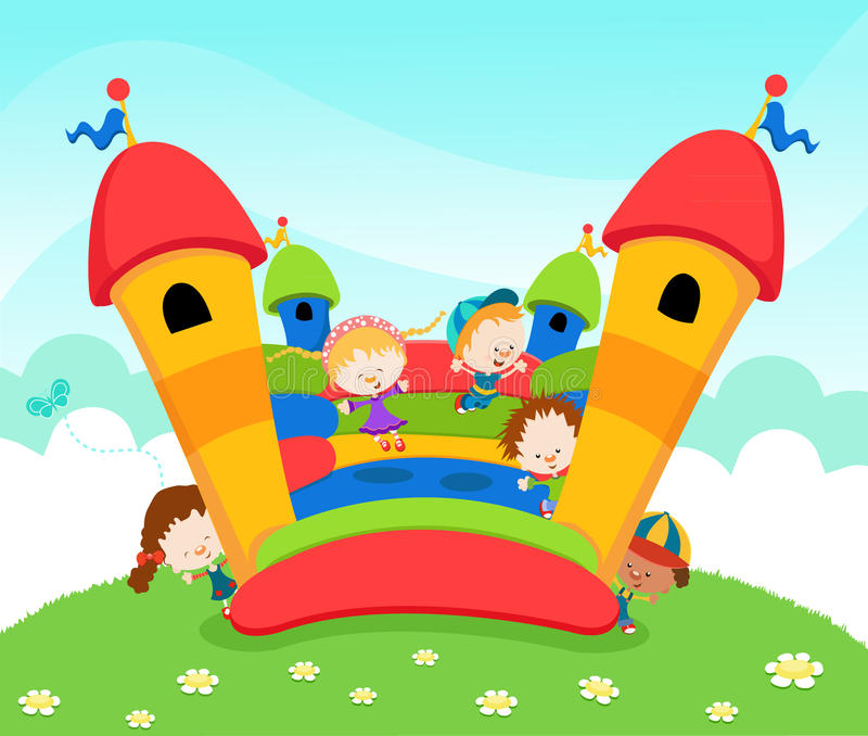 Download Jumping Castle stock vector. Image of exercise, girl - 20825236