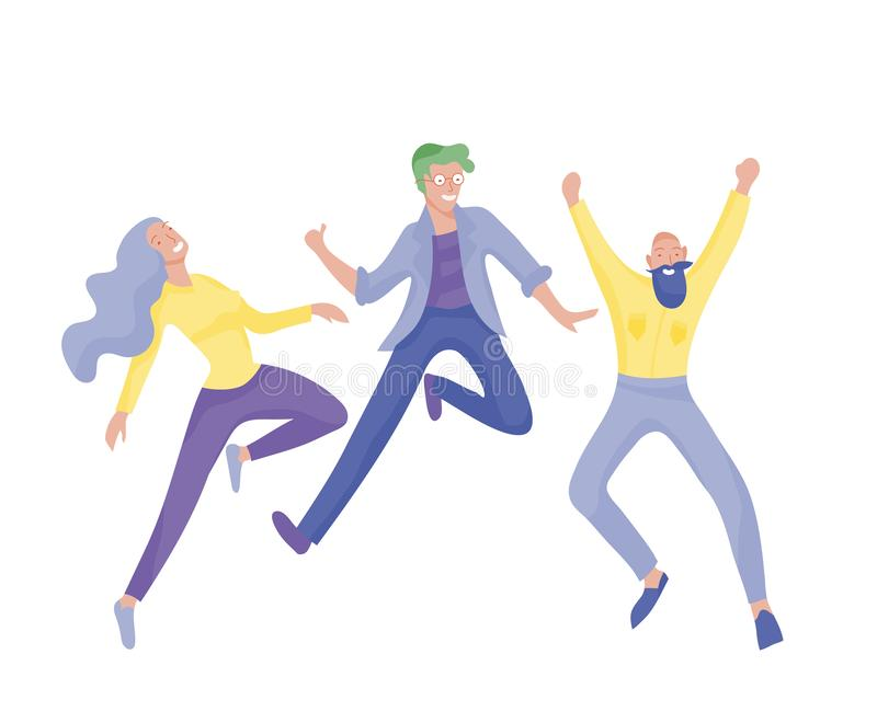 Jumping character in various poses. Group of young joyful laughing people jumping with raised hands. Happy positive stock illustration