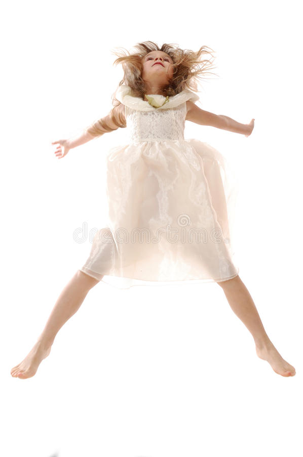 Jumping child isolated royalty free stock photo