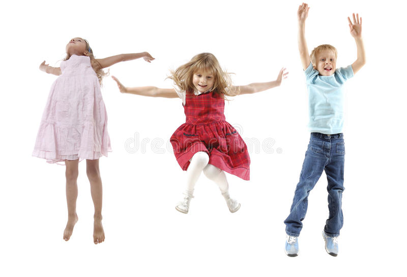 Jumping children royalty free stock photos