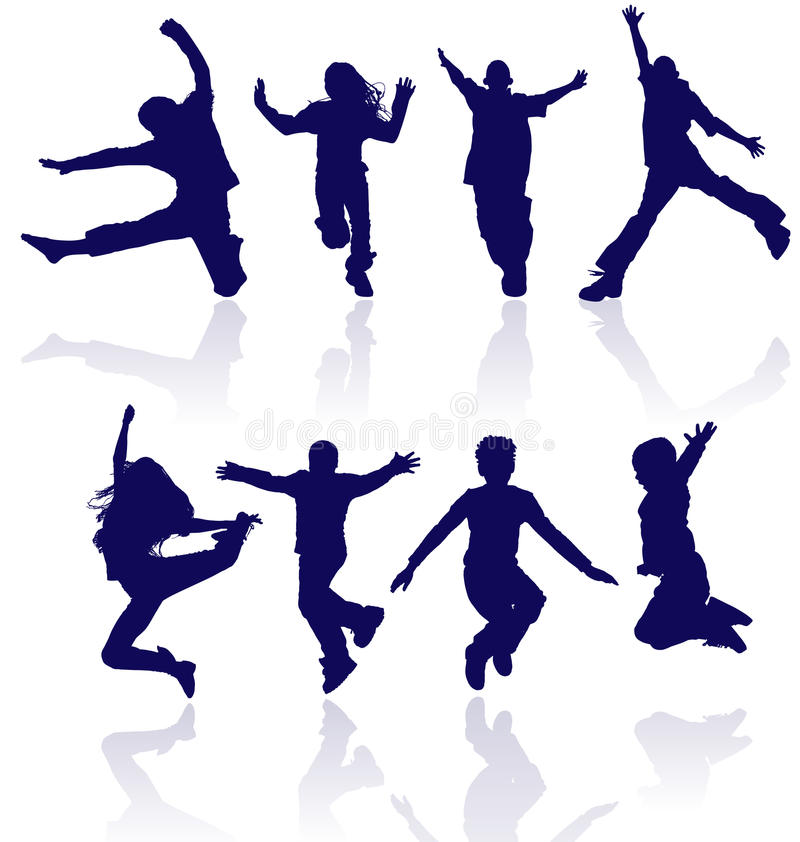 Group of happy school children active jumping dancing running playing kids kid child silhouettes fun sport party jumps jump dance royalty free illustration