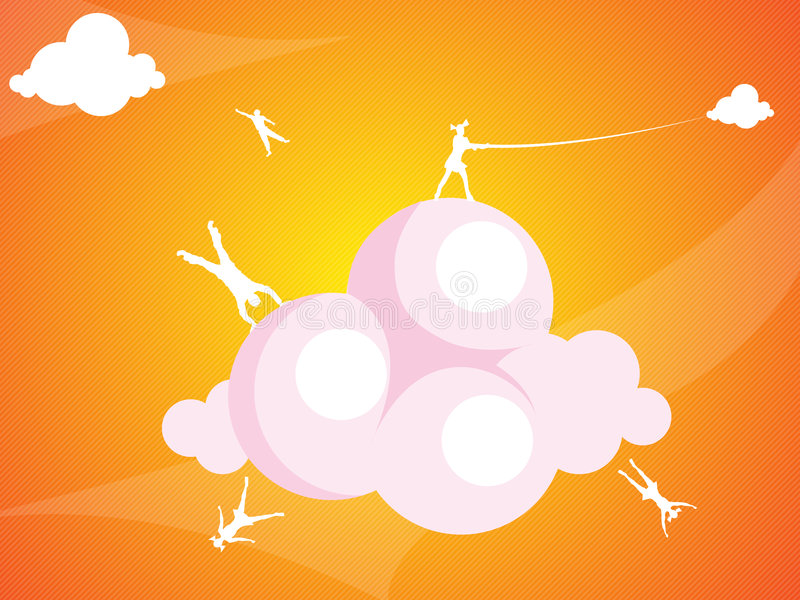 Jumping on the clouds royalty free stock photography