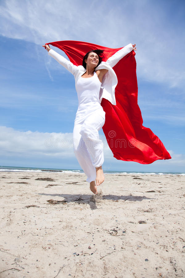Download Jumping coast scarf woman stock photo. Image of color - 9896152