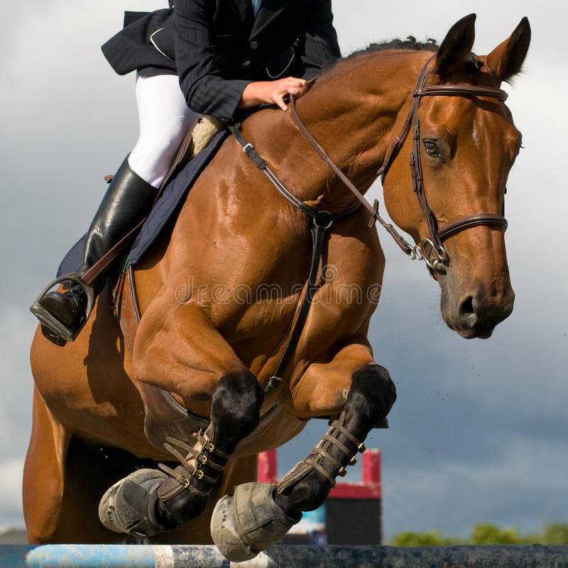 Jumping competition. Horseman at jumping competition jump an obstacle with is horse royalty free stock image