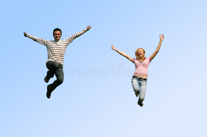Download Jumping couple stock photo. Image of laugh, clouds, couple - 2237640