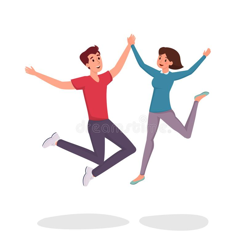 Jumping couple flat vector illustration. Cheerful man and woman, friends, siblings, students cartoon characters. Girl stock illustration