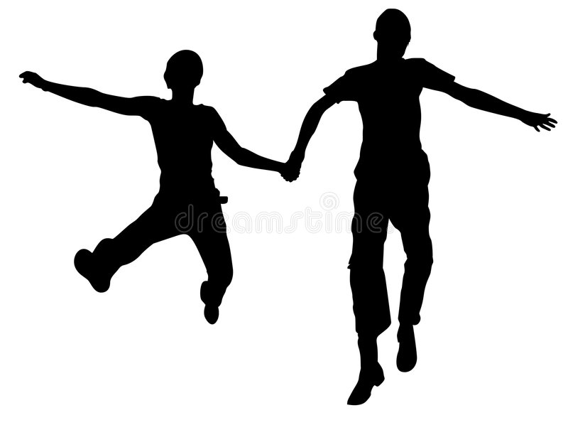 Jumping Couple Silhouette Royalty Free Stock Images