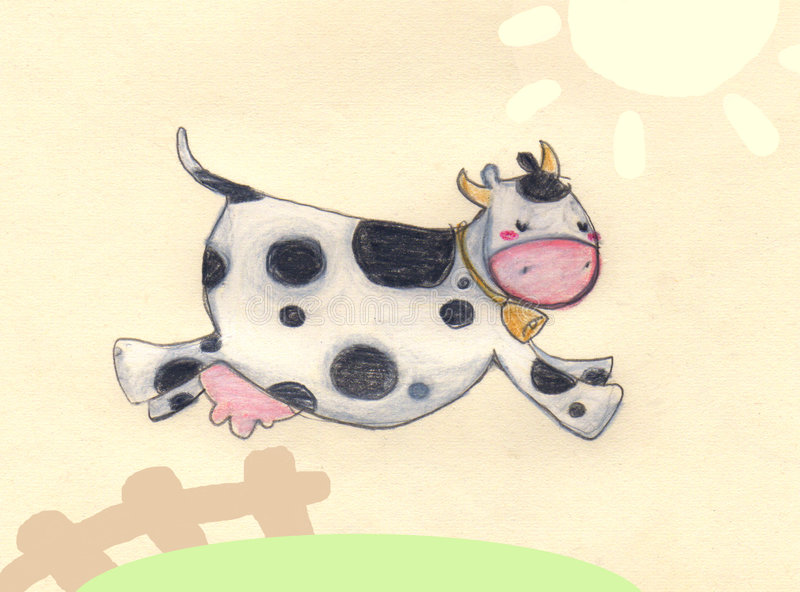 Jumping cow. A jumping funny cow. Pastel and digital illustration stock illustration