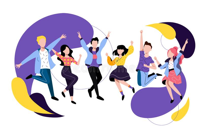 Jumping and dancing happy people. Vector flat illustration. Friends have a party. Young men and women cartoon characters vector illustration