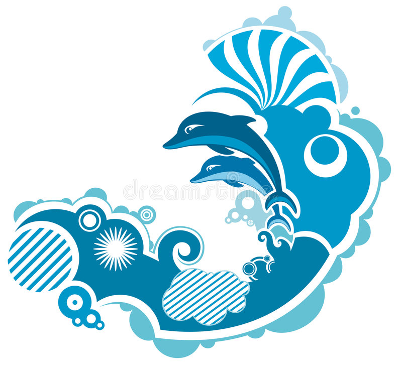 Download Jumping dolphin stock vector. Illustration of background - 9318006