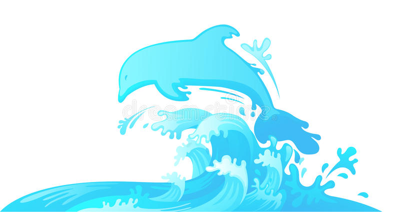Jumping dolphin out of water vector illustration
