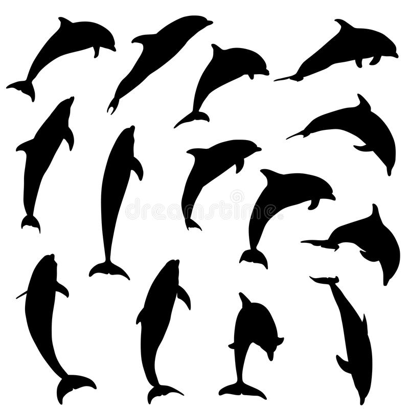 Jumping dolphins silhouettes vector illustration