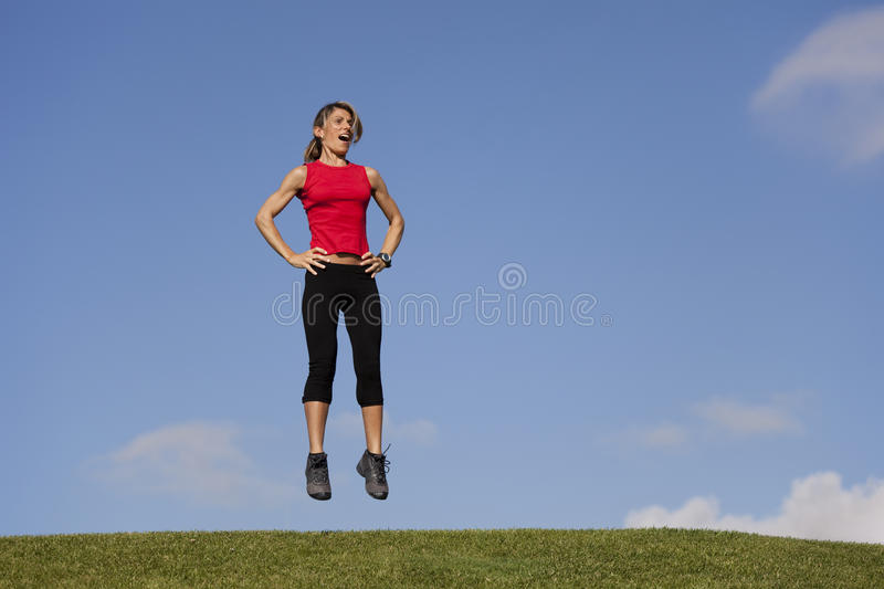 Jumping exercise stock image