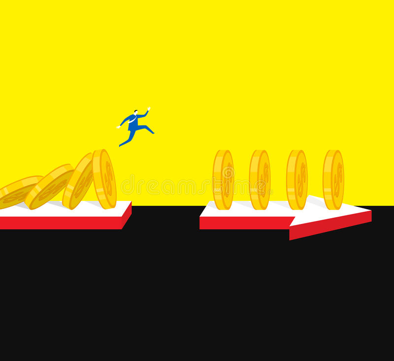 Jumping. Facing difficulty will arouse your latent stock illustration