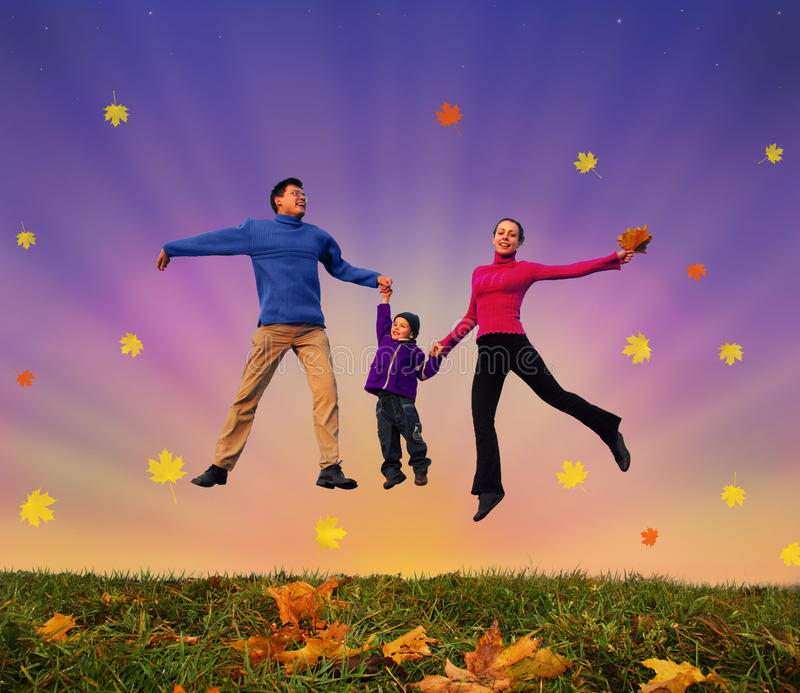 Jumping family with boy on autumnal meadow collage stock photos