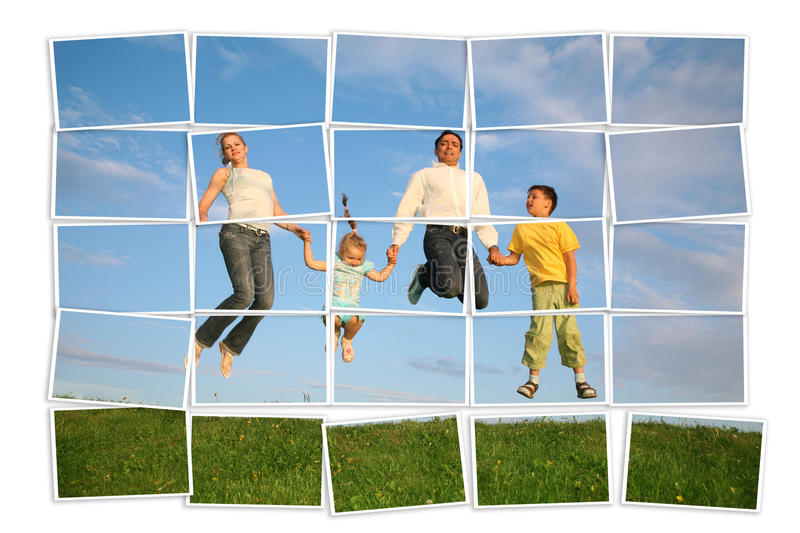 Jumping family on grass, collage stock image