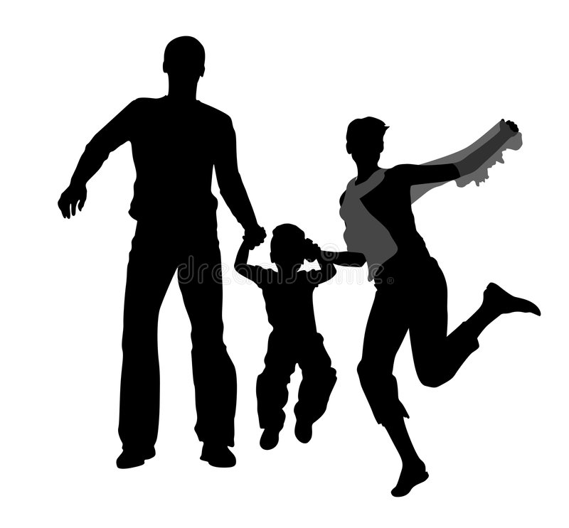 Jumping family silhouette vector illustration