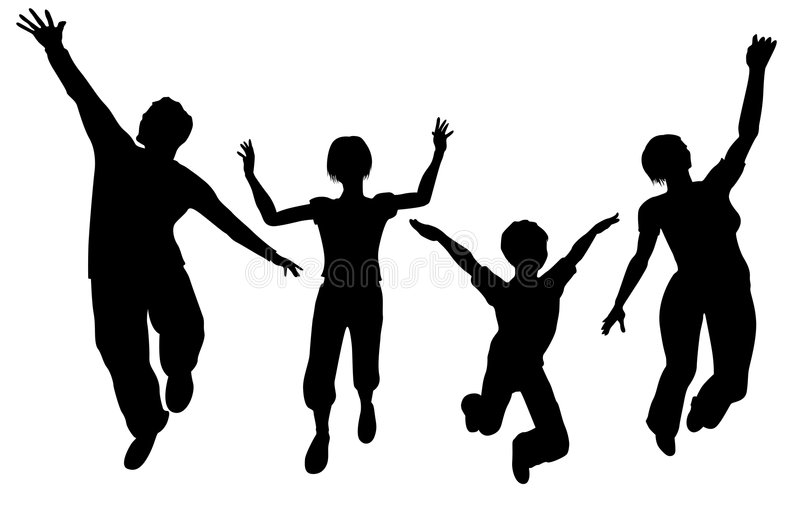 jumping family silhouette royalty free illustration