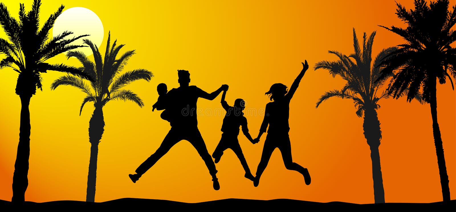 Jumping family on vacation. Silhouettes of people and palm trees, dawn. Vector illustration.  royalty free illustration