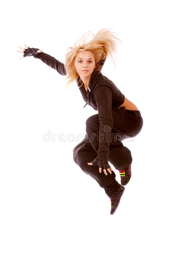 Jumping Female Dancer Royalty Free Stock Images