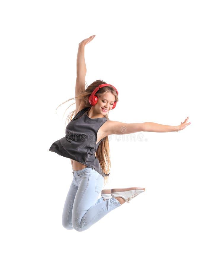 Jumping female dancer on white background royalty free stock image