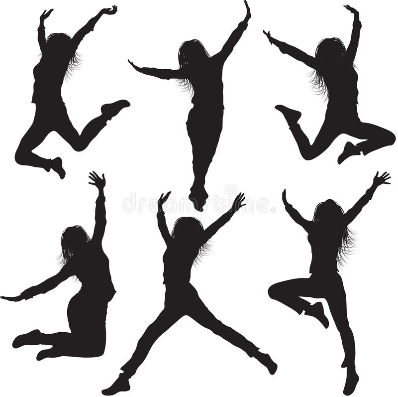 Jumping female silhouettes stock illustration