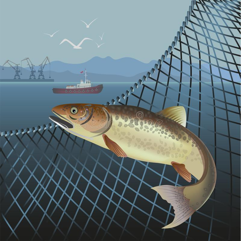 Jumping fish vector. Fish jumping out of the net. Sea landscape. Vector illustration stock illustration